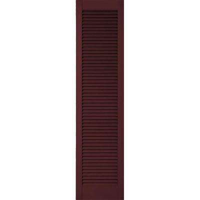 14-1/2 in. x 41 in. Lifetime Vinyl Custom Straight Top All Open Louvered Shutters Pair Bordeaux