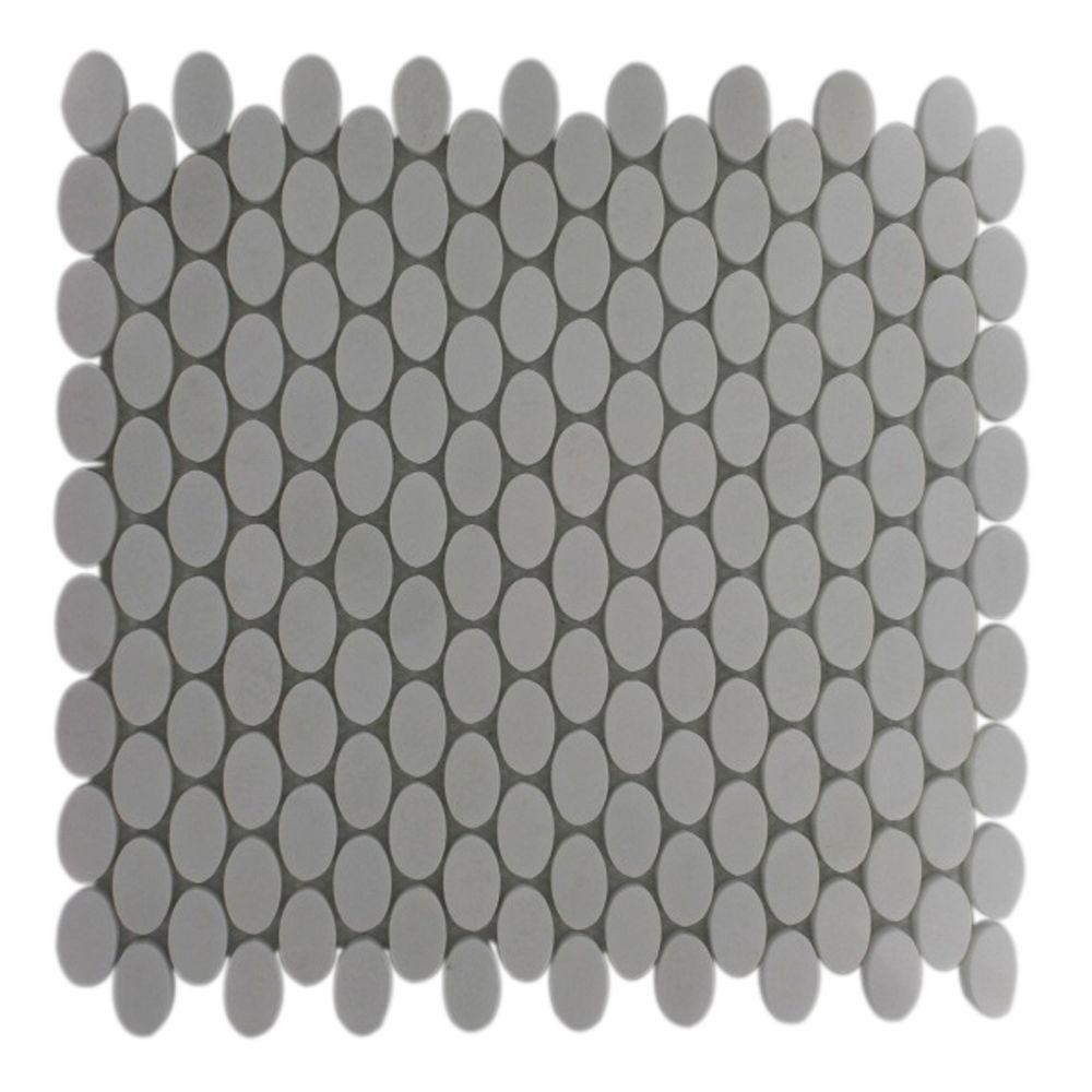 Ivy Hill Tile Orbit White Thassis Ovals 12 in. x 12 in. x 8 mm Marble Mosaic Floor and Wall Tile