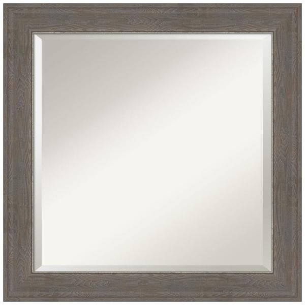 Medium Square Alta Brown Grey Beveled Glass Casual Mirror (24.5 in. H x 24.5 in. W)