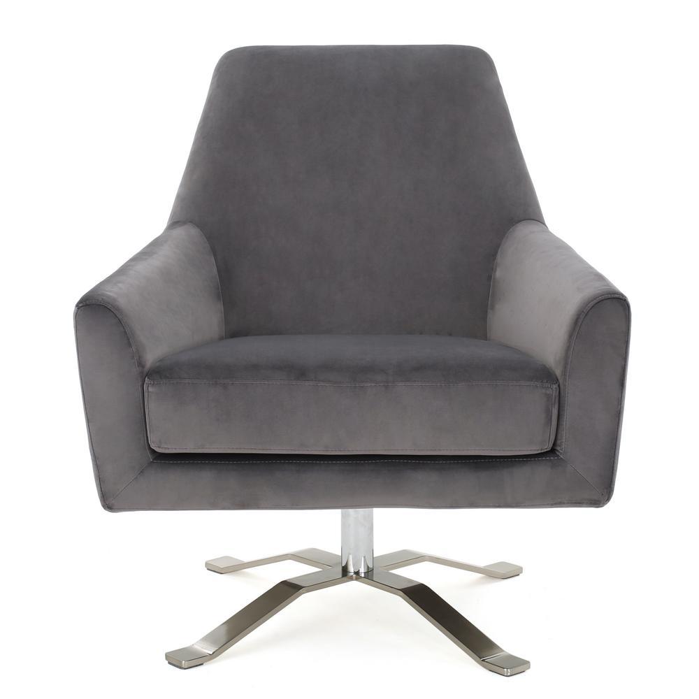 Ailis Grey Velvet Swivel Club Chair
