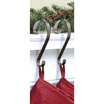 Stocking Scrolls Stocking Holders Bronze Embossed Holly (2-Pack)