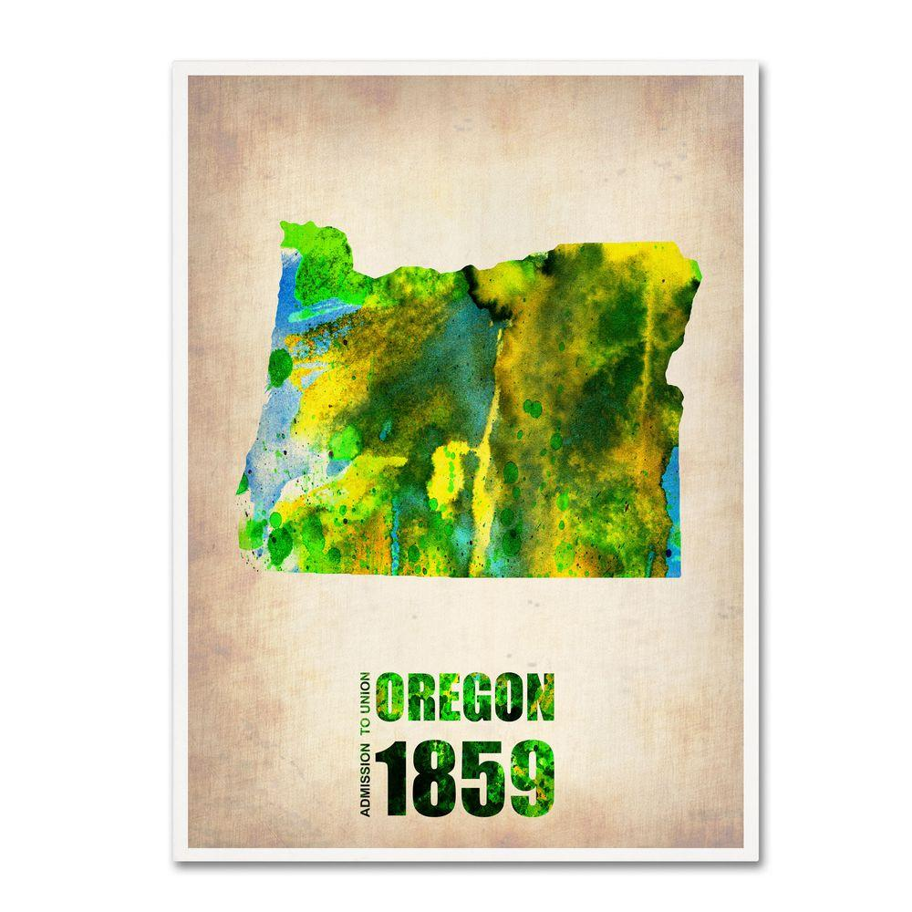 24 in. x 18 in. Oregon Watercolor Map Canvas Art