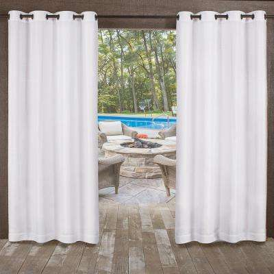 Miami 54 in. W x 108 in. L Indoor Outdoor Grommet Top Curtain Panel in Winter White (2 Panels)