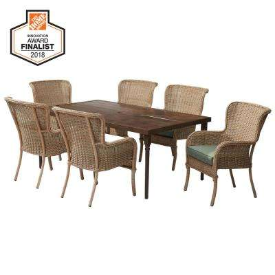 Lemon Grove 7-Piece Wicker Outdoor Dining Set with CushionGuard Surplus Cushion