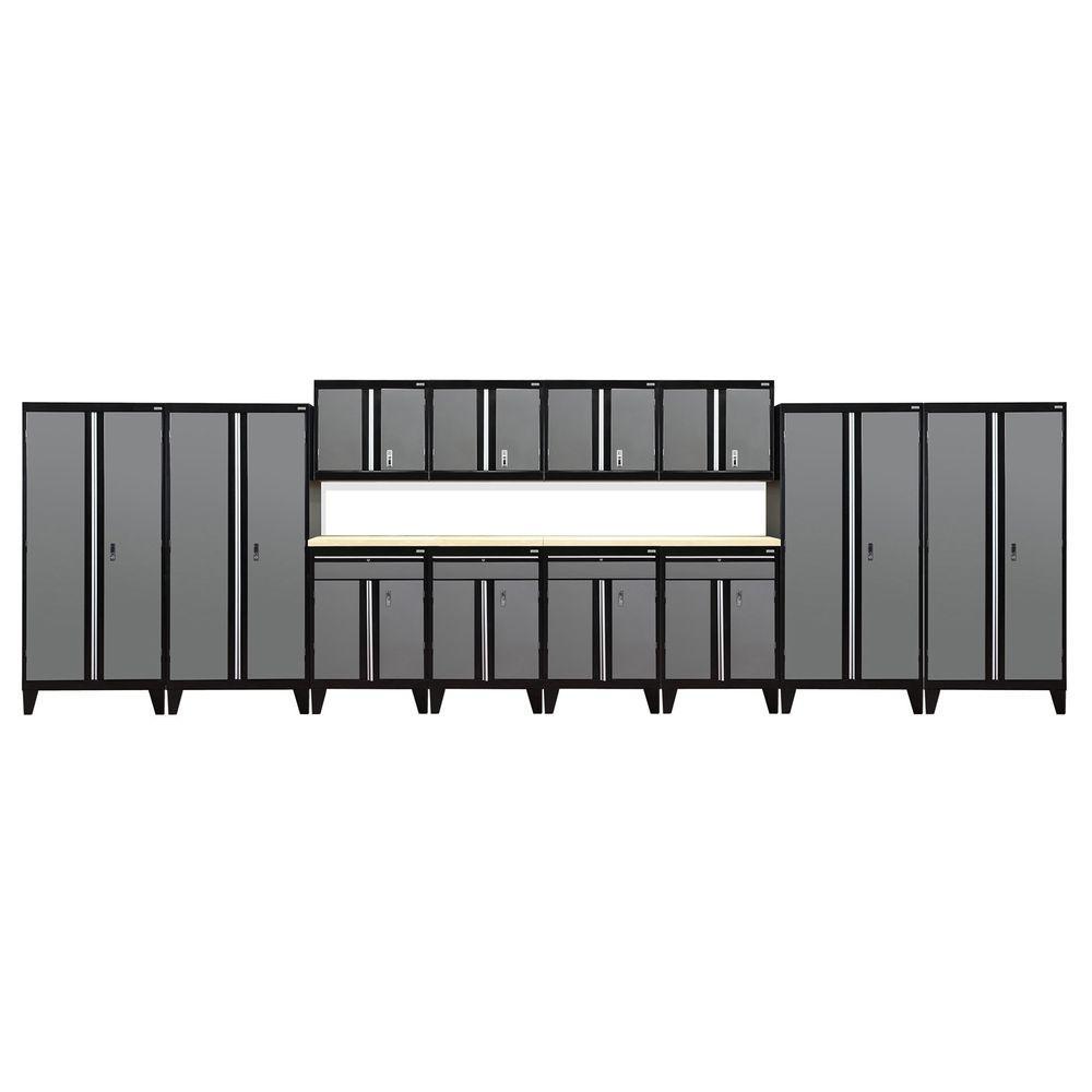 Sandusky 79 in. H x 264 in. W x 18 in. D Modular Garage Welded Steel Cabinet Set in Black/Charcoal (14-Piece)