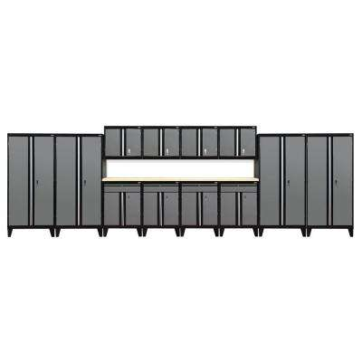 79 in. H x 264 in. W x 18 in. D Modular Garage Welded Steel Storage System in Black/Charcoal (14-Piece)