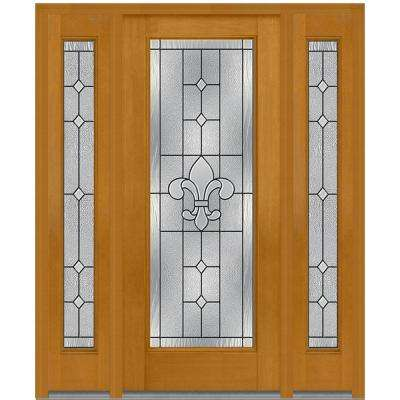 60 in. x 80 in. Carrollton Right-Hand Full Lite Decorative Stained Fiberglass Mahogany Prehung Front Door with Sidelites