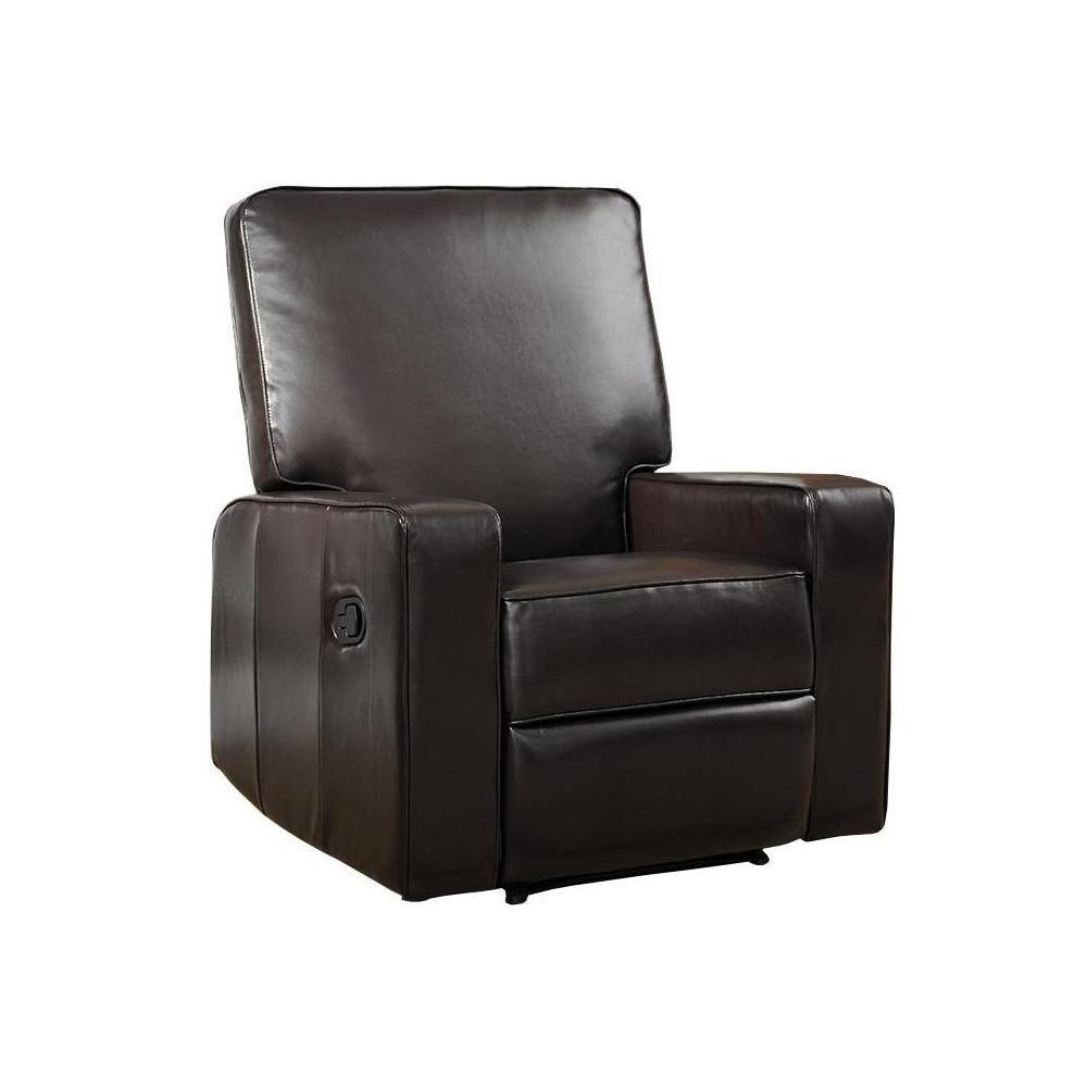YoW Brexley Leather Club Chair Recliner in Espresso, Brown
