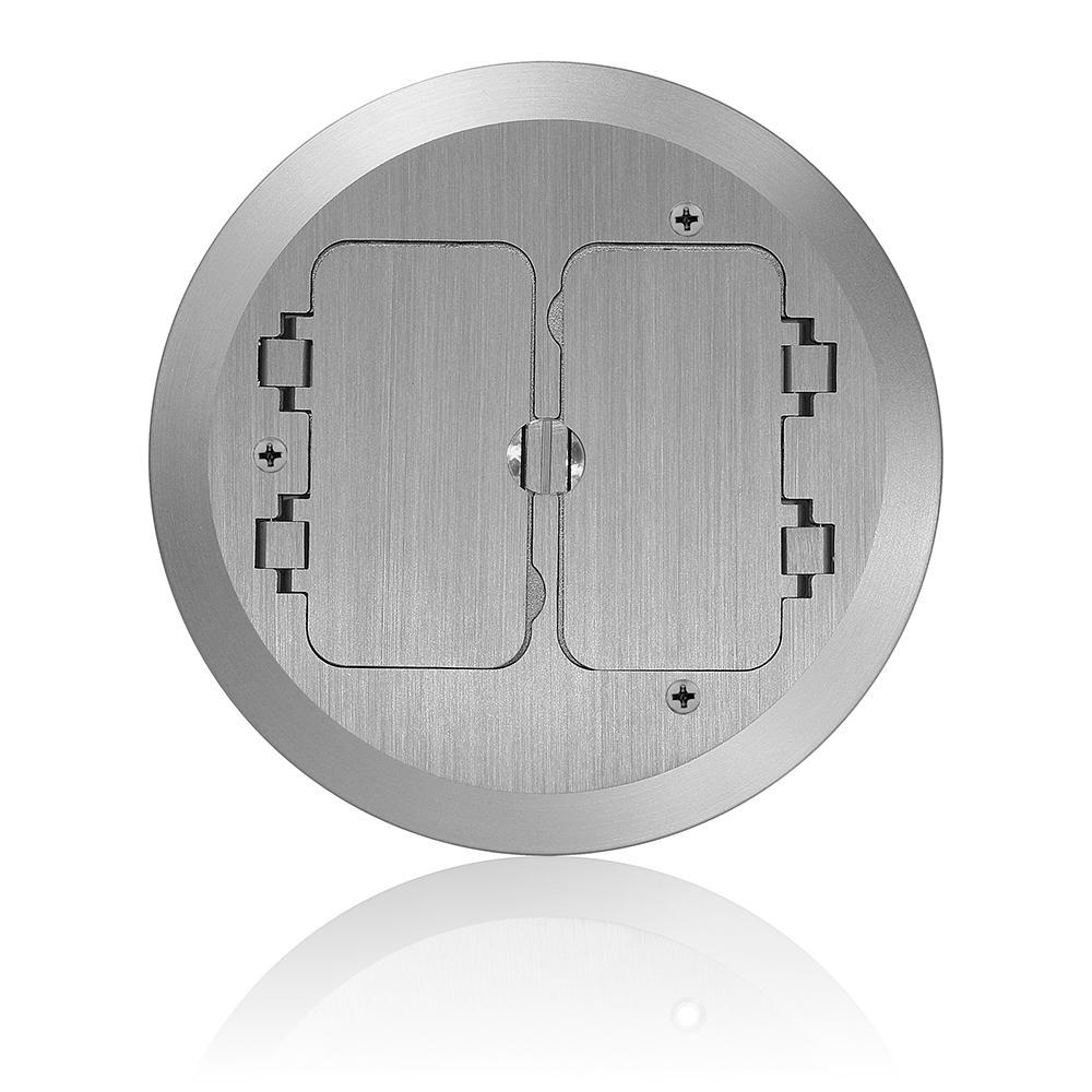 Concrete Floor Box Nickel Plated Cover Plate, 2 Decora Flip Lids