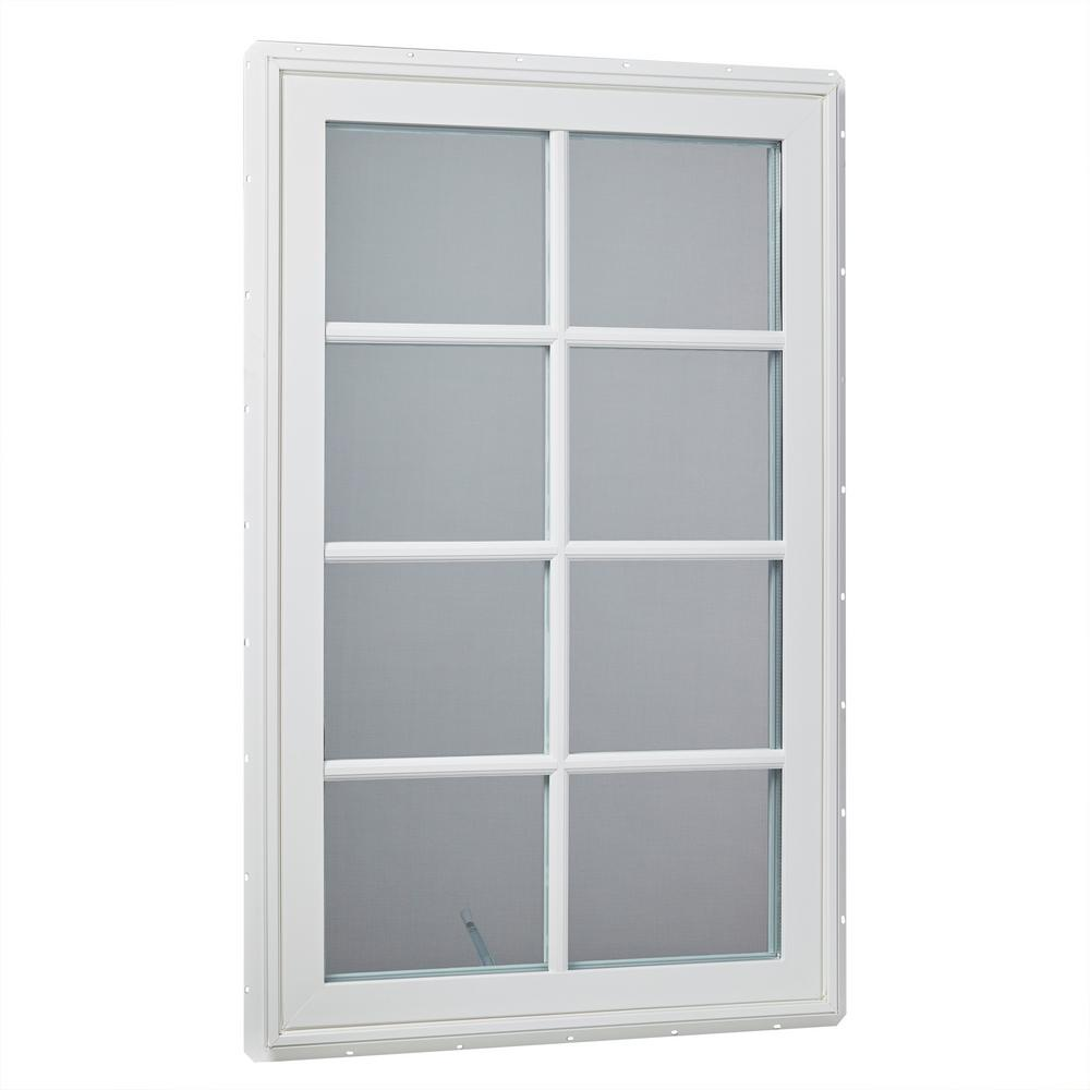 30 in. x 48 in. Left-Hand Vinyl Casement Window with Grids