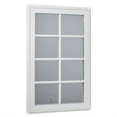 30 in. x 48 in. Left-Hand Vinyl Casement Window with Grids and Screen in White