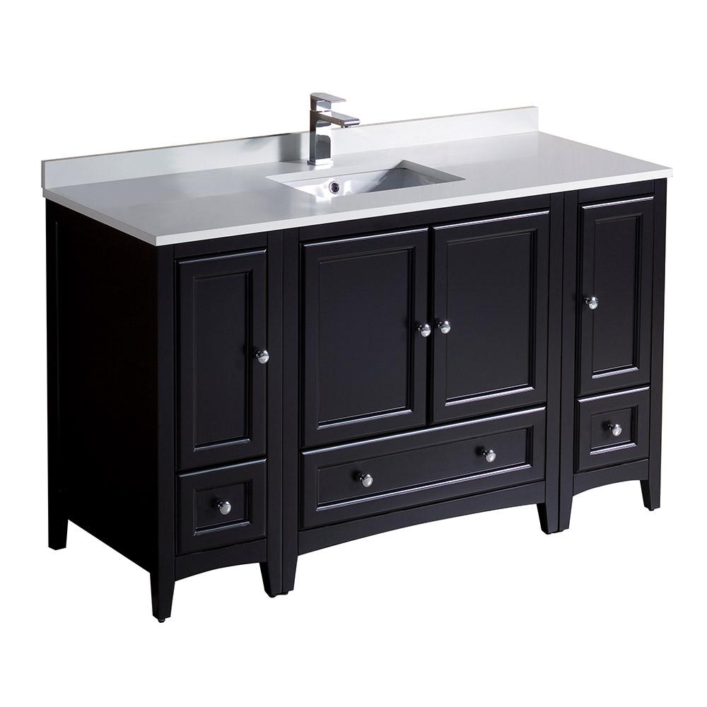 Fresca Oxford 54 in. Bath Vanity in Espresso with Quartz Stone Vanity Top in White with White Basin