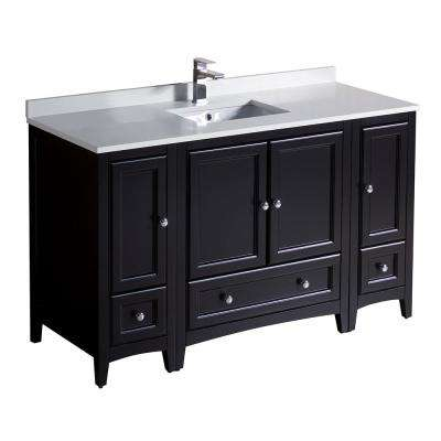 bath vanity in espresso with quartz stone vanity top in white with