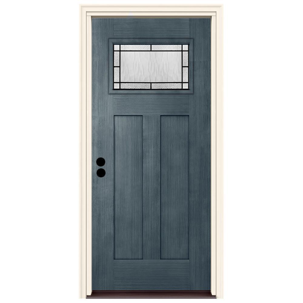 JELD-WEN 36 in. x 80 in. Right-Hand 1-Lite Craftsman Wendover Denim Stained Fiberglass Prehung Front Door with Brickmould