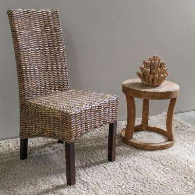 Java Solid Wood No Embly Mahogany And Rattan Weave Parsons Chair Set Of 2