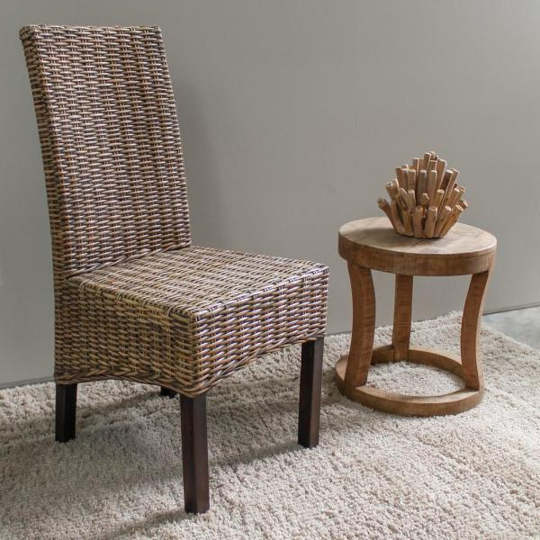 Java Solid Wood No assembly Mahogany and Rattan Weave Parsons Chair