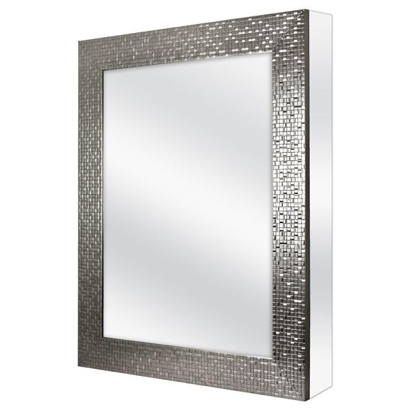 Home Decorators Collection 24 In W X 30 In H Fog Free Framed Recessed Or Surface Mount Bathroom Medicine Cabinet In Brushed Nickel 45427 The Home Depot