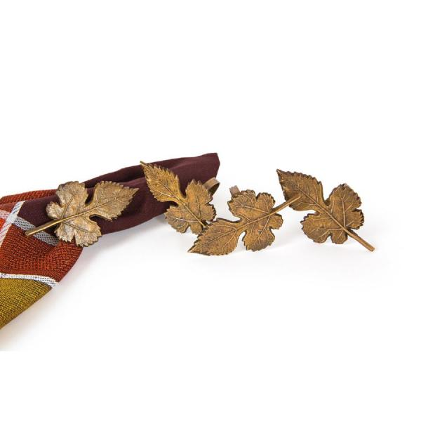 Manor Luxe Autumn Leaf Brass Metal Fall Napkin Rings (Set of