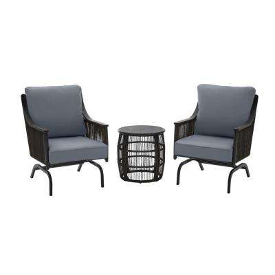 Bayhurst  Black 3-Piece Wicker Outdoor Patio Motion Seating Set with CushionGuard Steel Blue Cushions