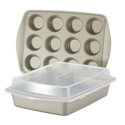 Nonstick Bakeware Set, 3-Piece, Silver
