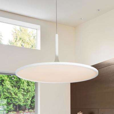 Salm Collection 45-Watt White Integrated LED Adjustable Hanging Modern Disc Chandelier 24 in.