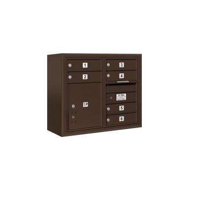 3800 Horizontal Series 6-Compartment with 1-Parcel Locker Surface Mount Mailbox