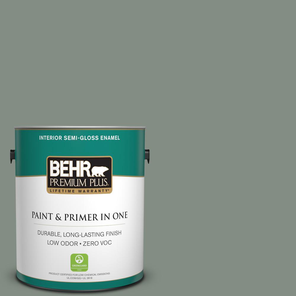 BEHR Premium Plus 1-gal. #ECC-49-3 Forest Moss Zero VOC Semi-Gloss Enamel Interior Paint