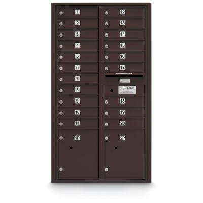 20-Door Standard 4C Mailbox with 2-Parcel Lockers in Bronze