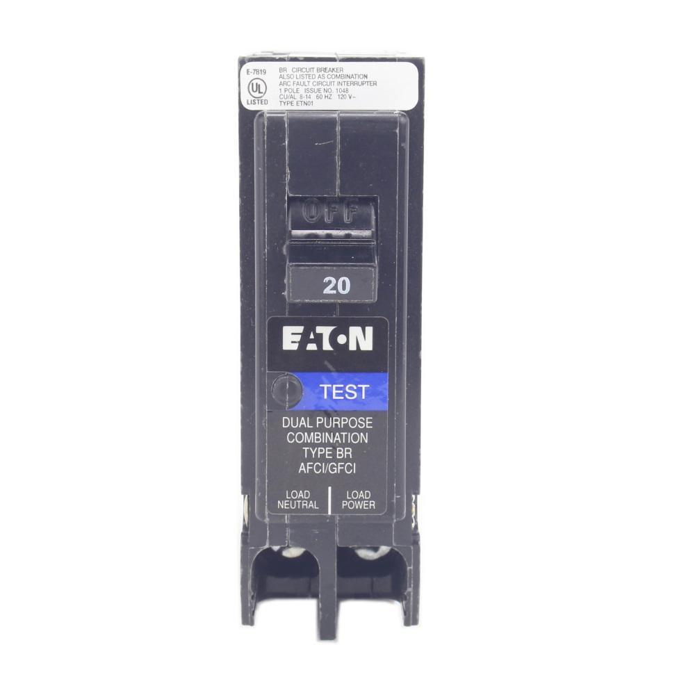 BR 20 Amp 1-Pole Dual Function (Arc Fault/Ground Fault) Plug-On Neutral Circuit Breaker