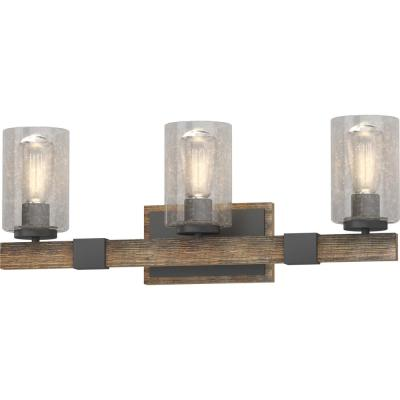 3-Light Indoor Black Walnut Bath or Vanity Light Bar or Wall Mount with Clear Seedy Bubble Glass Cylinder Shades