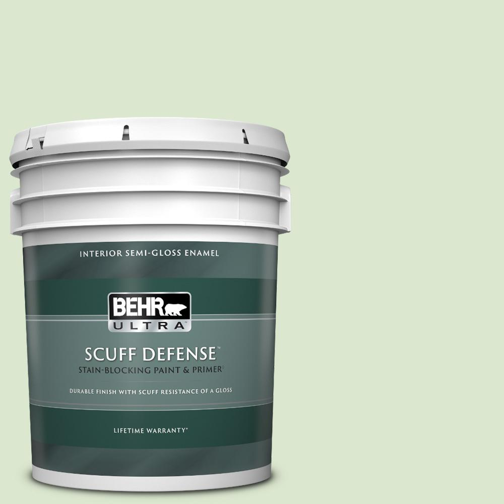 Reviews For Behr Ultra 5 Gal T12 18 Minty Frosting Extra Durable Semi Gloss Enamel Interior Paint Primer 375005 The Home Depot