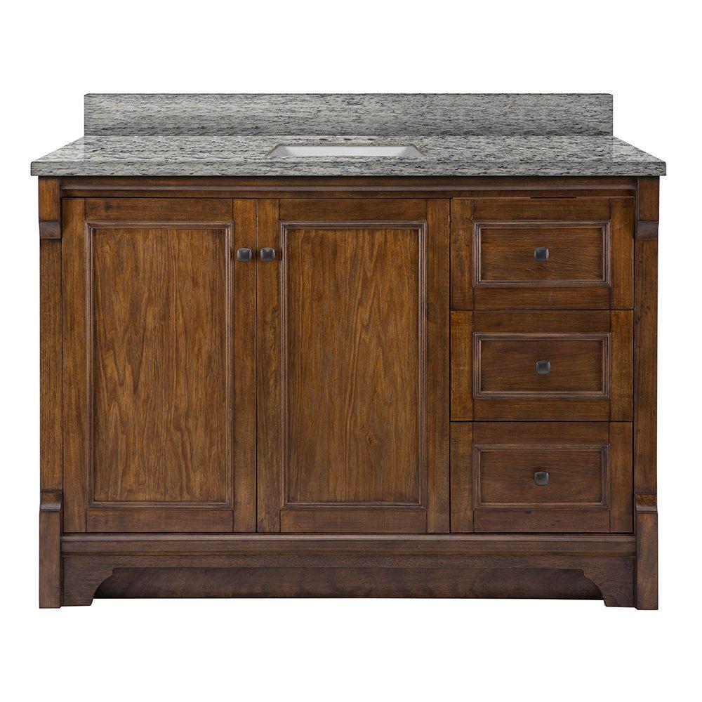 Creedmoor 49 in. W x 22 in. D Vanity in Walnut with Granite Vanity Top in Santa Cecilia with White Sink