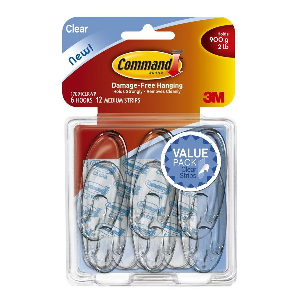 Command Medium-Clear Hooks with Clear Strips (6-Pack)