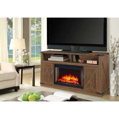 Aberfoyle 48 in. Freestanding Electric Fireplace TV Stand in Rustic Brown