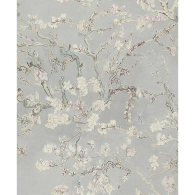 Almond Blossom Bold Floral Wallpaper Cool Grey Paper Strippable Roll (Covers 57 sq. ft.)