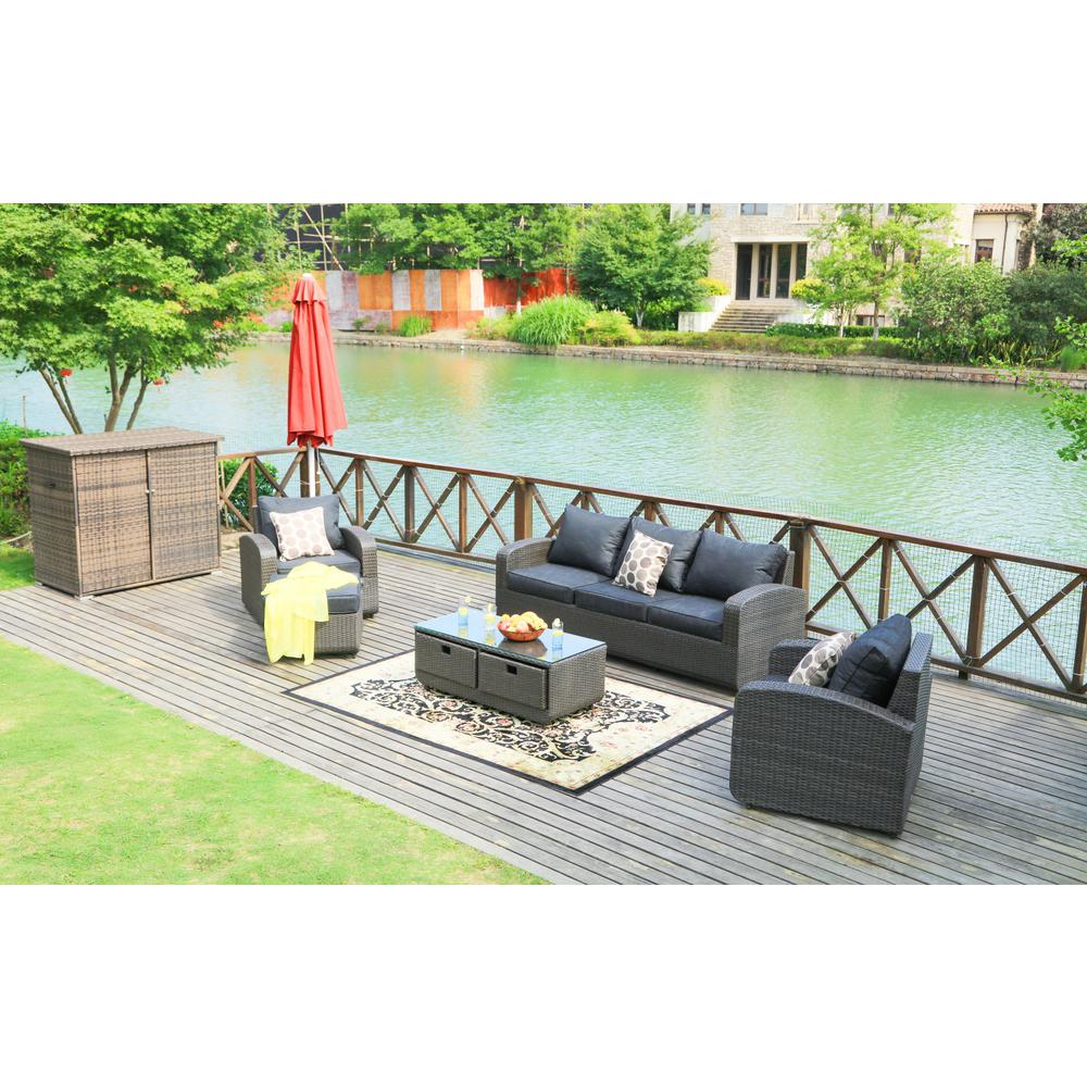 Strathmere Black 5-Piece Wicker Patio Conversation Set with Black Cushions