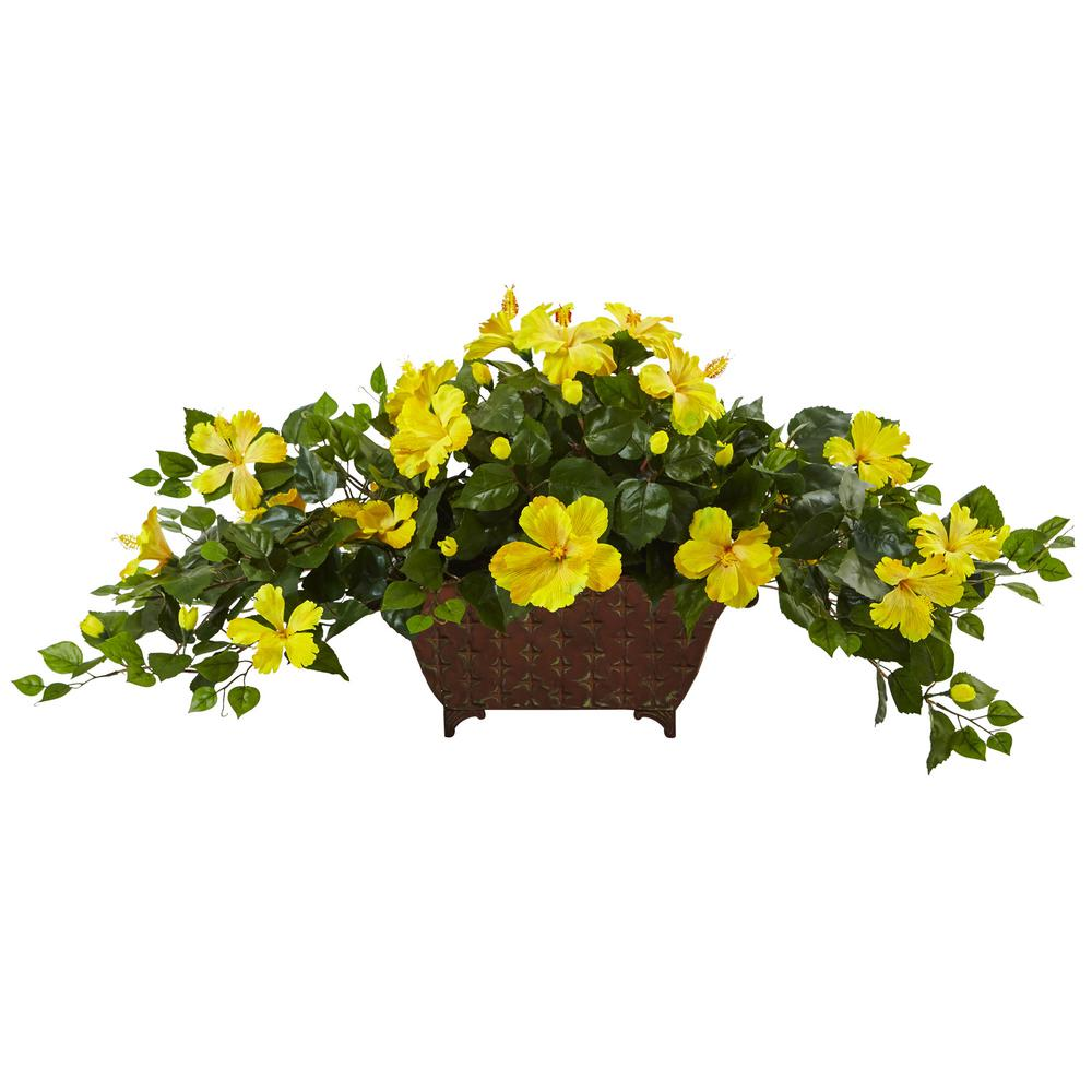 17 in. Hibiscus in Metal Planter
