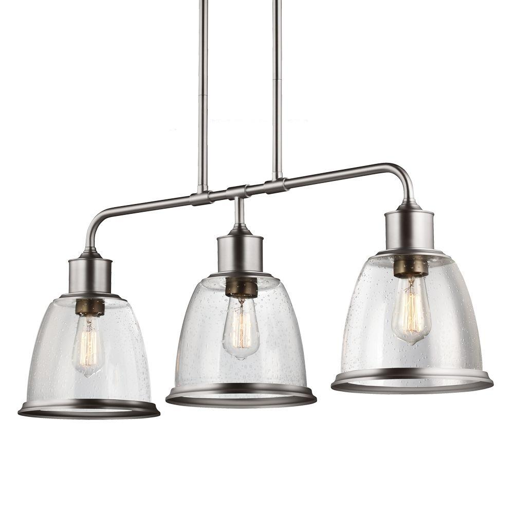 Dennis Retro Kitchen Linear Island Pendant Lighting Clear: Feiss Hobson 3-Light Aged Brass Island Light Shade-F3019