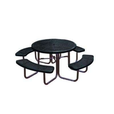 Metal picnic tables park furnishings the home depot diamond black commercial park portable round table watchthetrailerfo