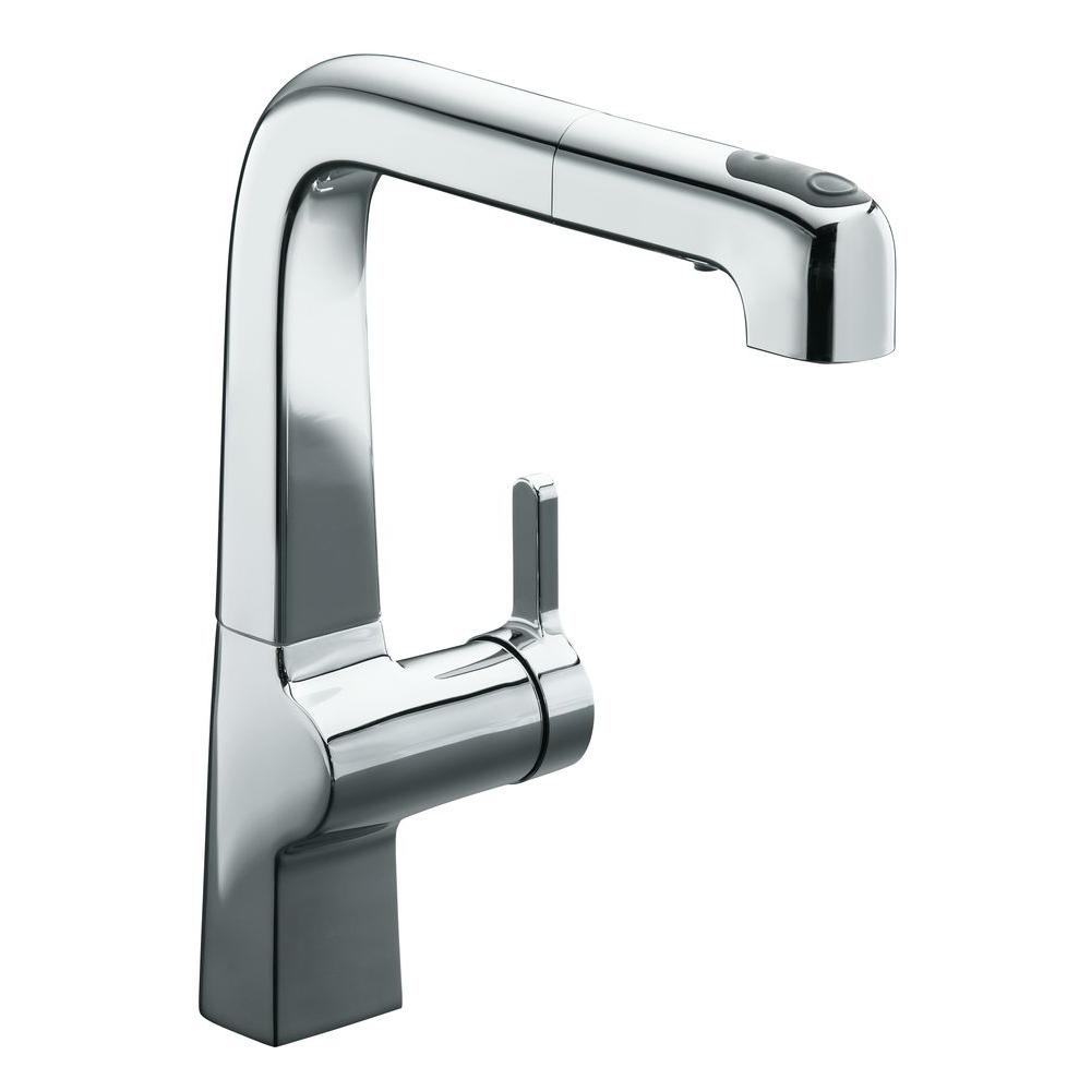 Kohler evoke single handle pull out sprayer kitchen faucet in polished chrome