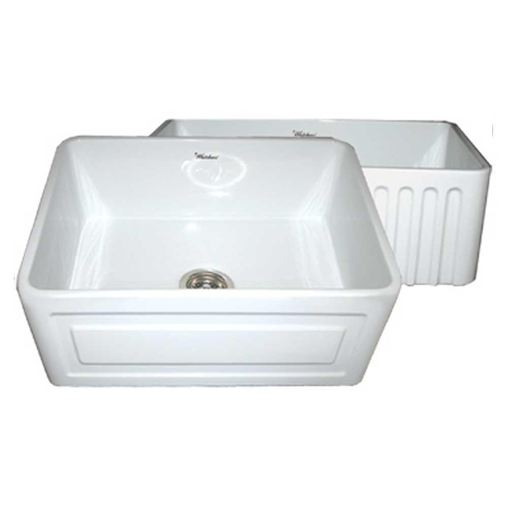 Whitehaus Collection Reversible Series Raised Panel Farmhaus Series Apron Front Fireclay 24 in. Single Basin Kitchen Sink in White
