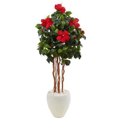 Indoor Hibiscus Artificial Tree in White Oval Vase