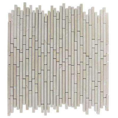 Windsor Random Crema Marfil Pattern 12 in. x 12 in. Marble Mosaic Floor and Wall Tile