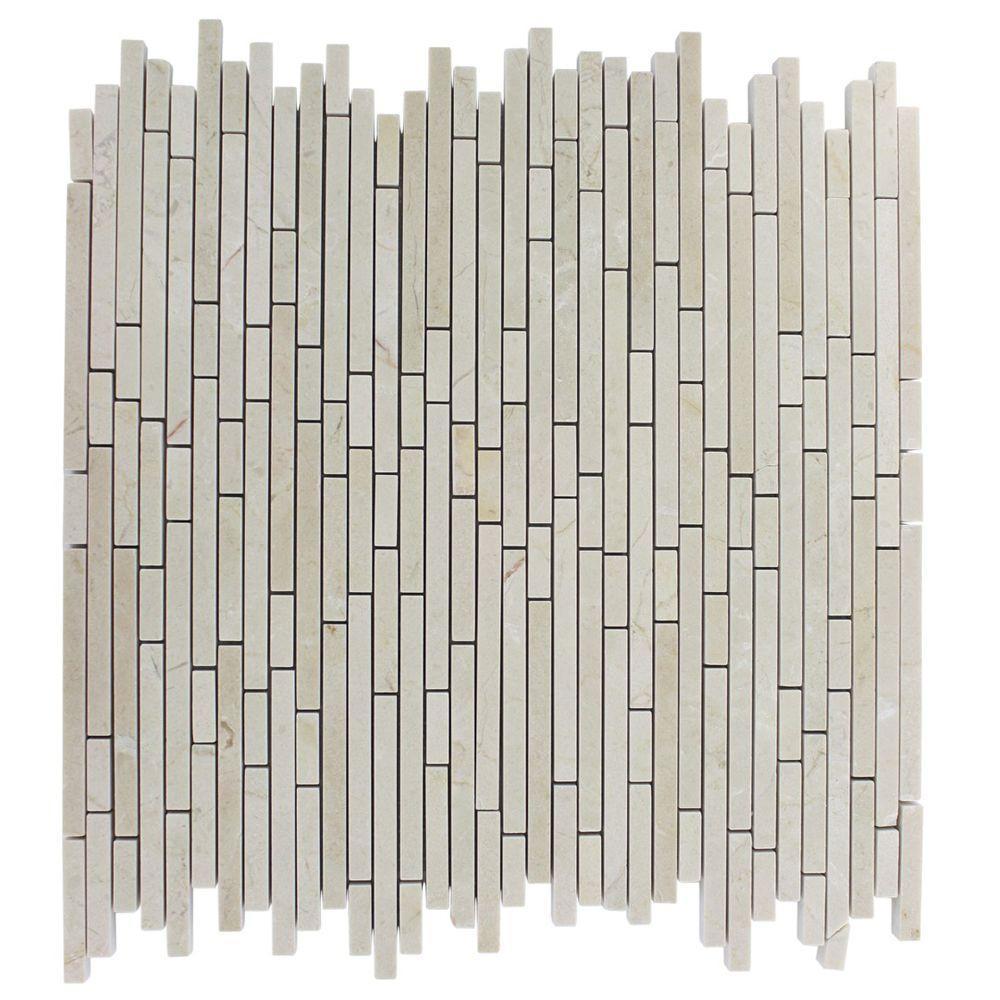 Random Kitchen Tile Patterns: Splashback Tile Windsor Random Crema Marfil Pattern 12 In. X 12 In. Marble Mosaic Floor And Wall