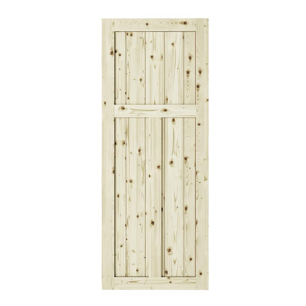 33 in. x 84 in. Craftman 3-Panel Unfinished Knotty Pine Interior Barn Door Slab