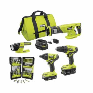 RYOBI ONE+ 18V Cordless 4-Tool Combo Kit with Drill/Driver, Impact Driver, Reciprocating Saw, Work Light, 1.5Ah Battery, 4.0Ah Battery, Charger, Bag + BONUS Impact Rated Driving Kit (70-Piece)