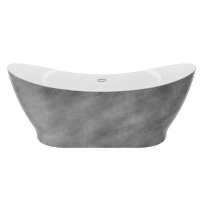 Polar 66 in. Acrylic Freestanding Flatbottom Bathtub in Silver No faucet