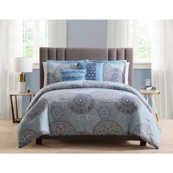 Samuel 5-Piece Blue Full/Queen Comforter Set