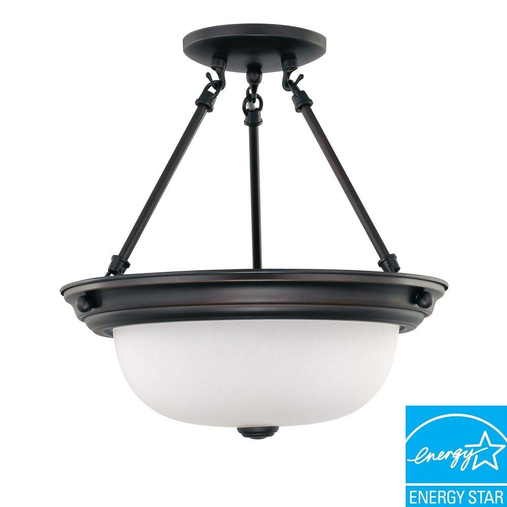 Glomar 2-Light Mahogany Bronze Fluorescent Ceiling Semi-Flush Mount Light