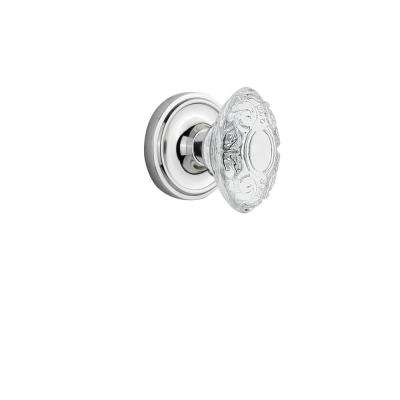 Classic Rosette Bright Chrome Single Dummy with Crystal Victorian Door Knob